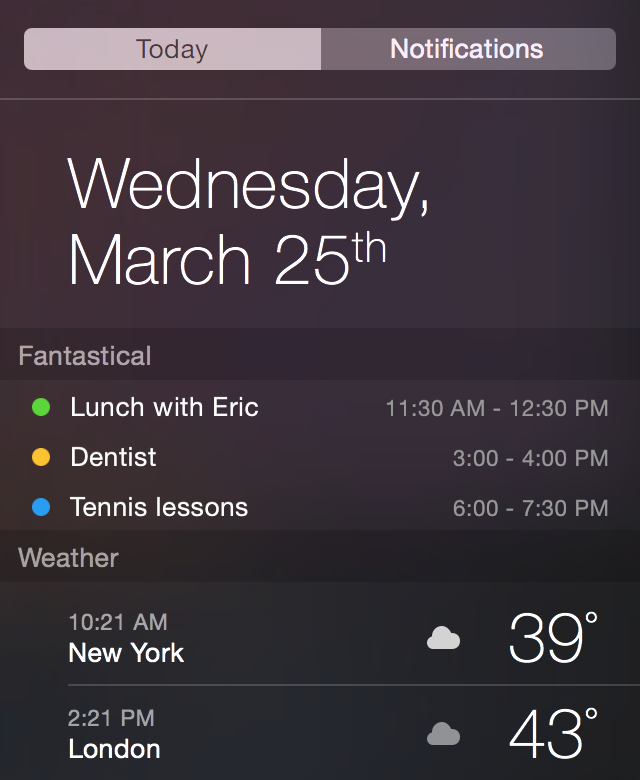 Fantastical 2 para OS X Today widget Mac captura de pantalla