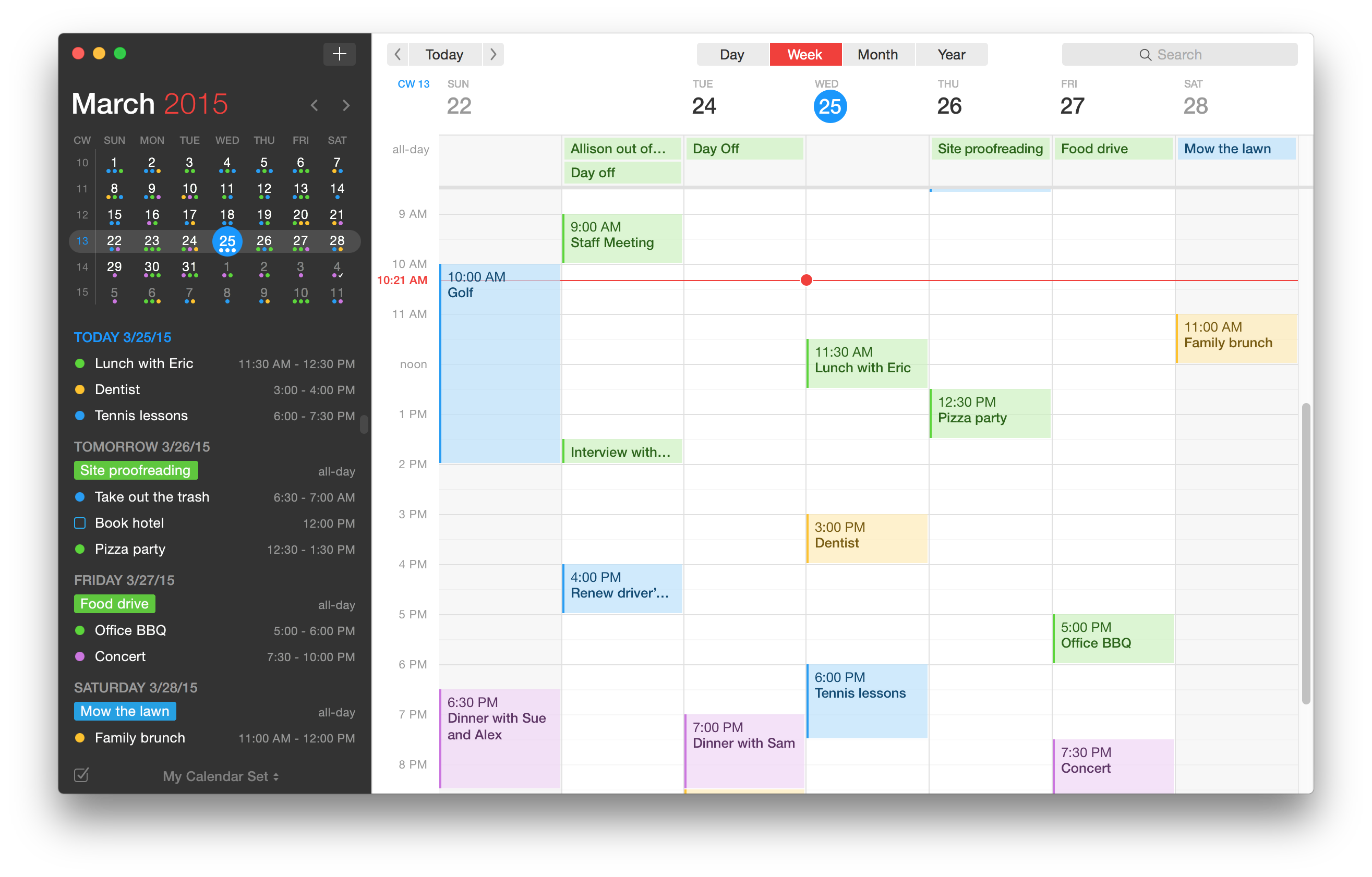 Fantastical 2 for OS X Week View Mac screenshot