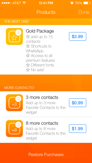 Favorite Contacts Launcher Purchases