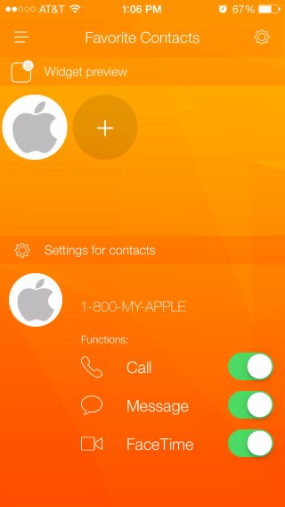 Favorite Contacts Launcher Settings