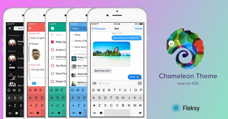 Fleksy Keyboard 5.3 para iOS Chameleon teclado tema teaser 001