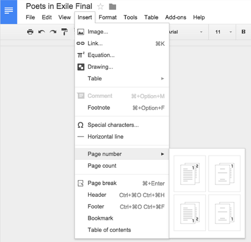 Google Doc customize headers and footers web screenshot 001