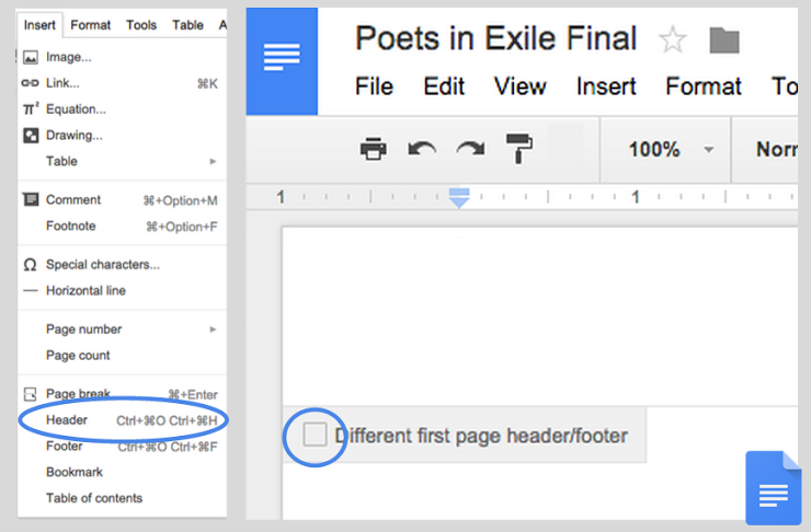 Google Doc customize headers and footers web screenshot 002