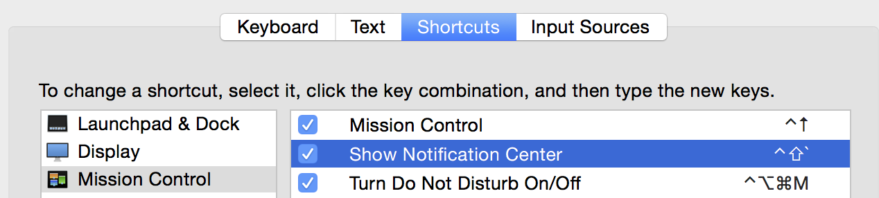 Use a keyboard shortcut for Notification Center on Mac