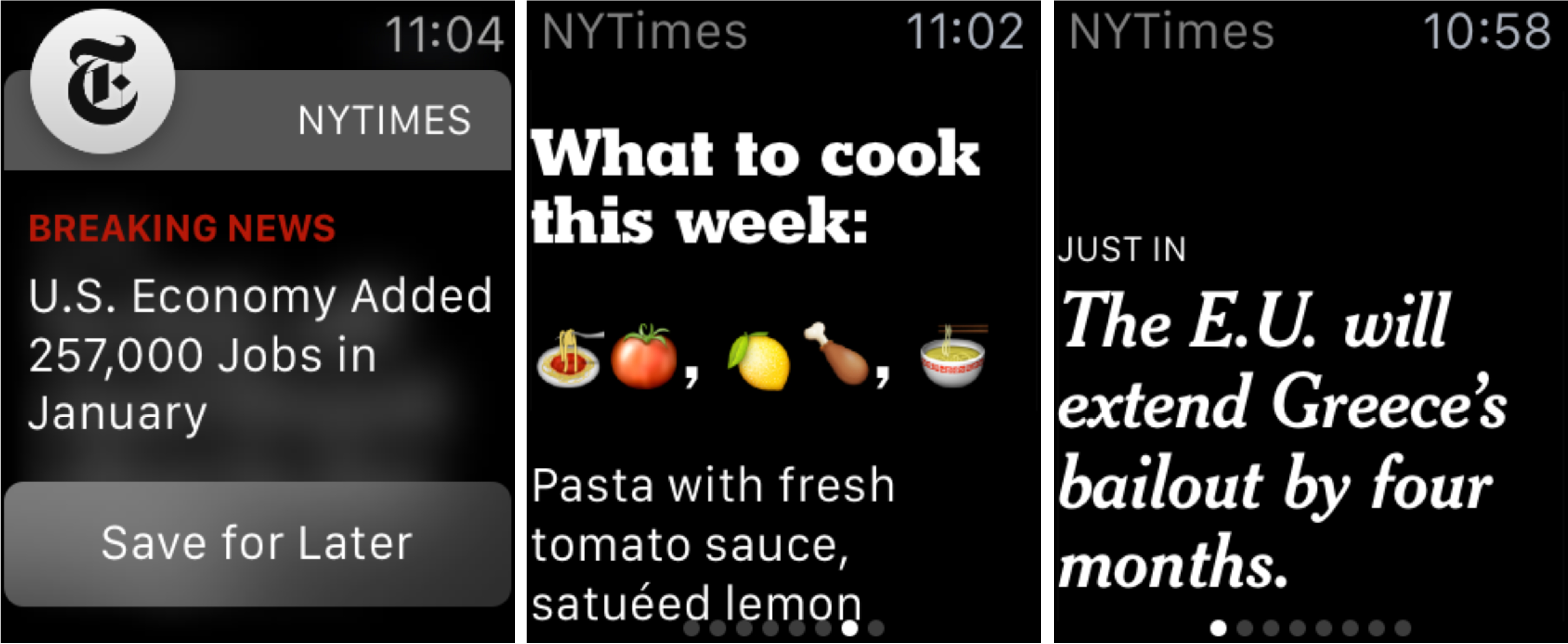 NYT One-sentence stories for Apple Watch screenshot 001