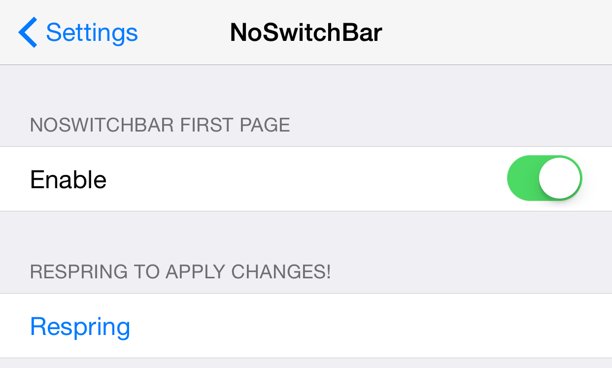 NoSwitchBar Preferences