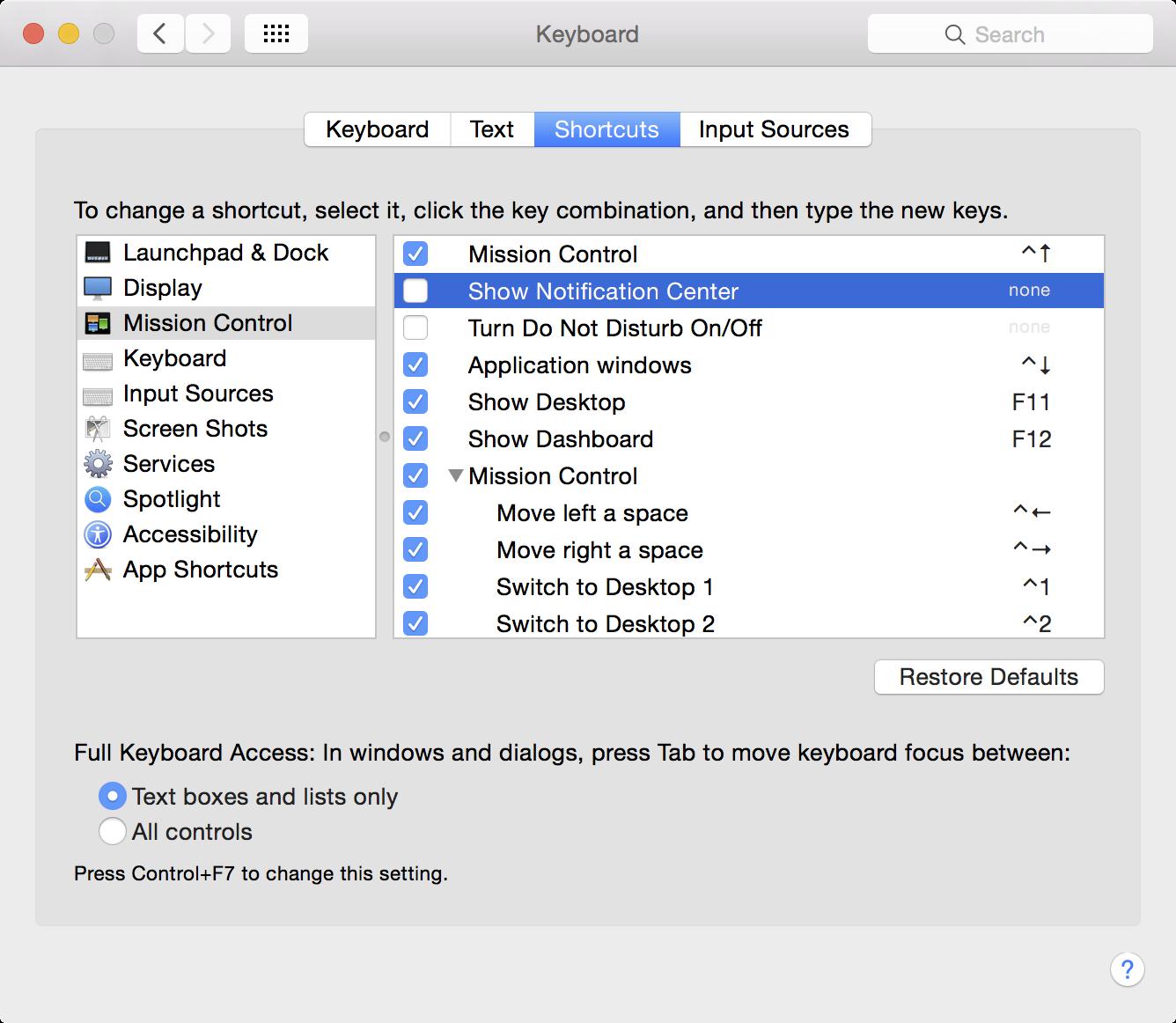 Notification Center Keyboard Shortcut