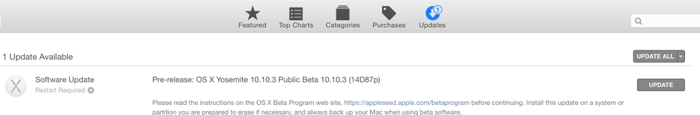 OS X 10.10.3 public beta mac app store screenshot