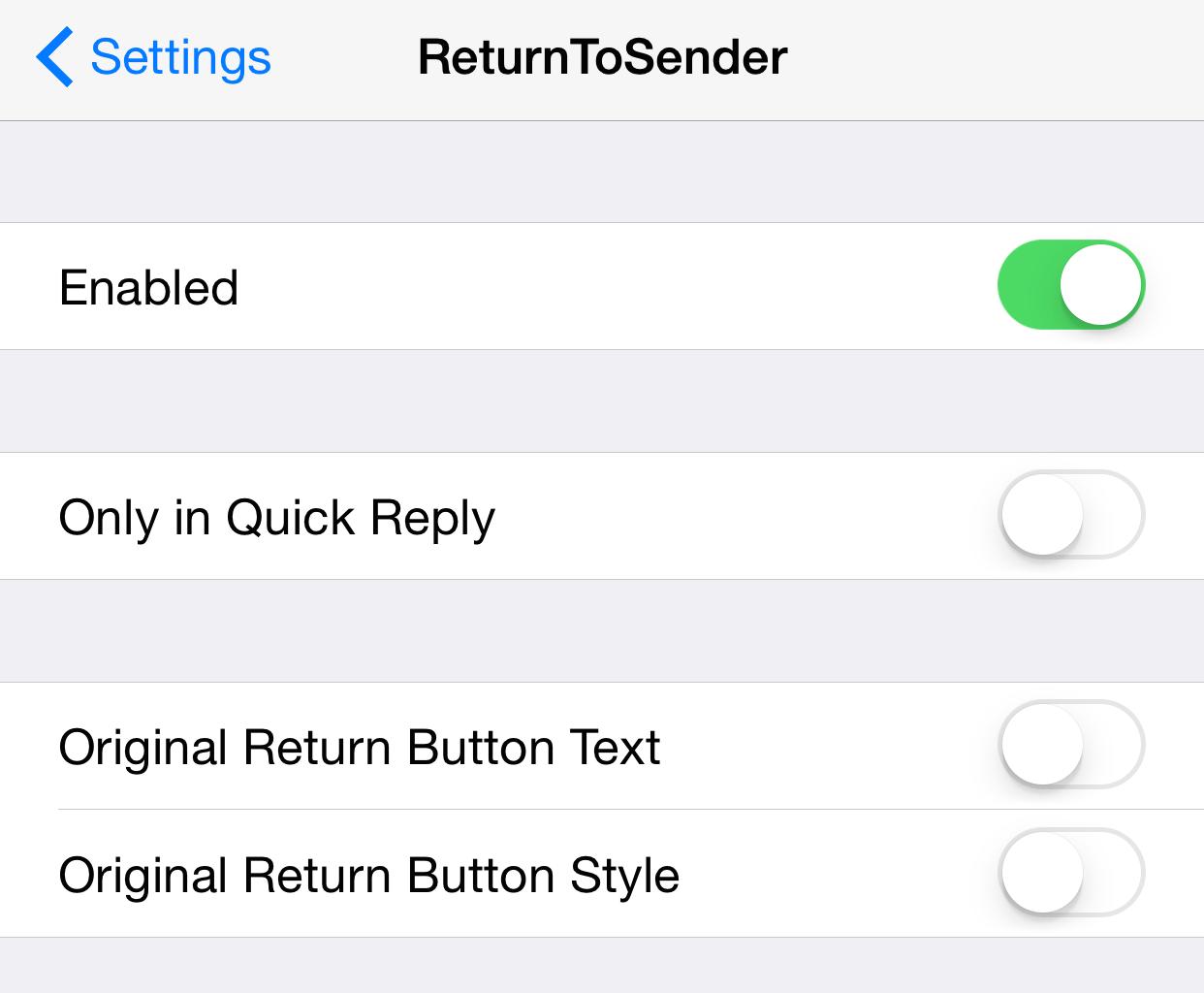 ReturnToSender Preferences