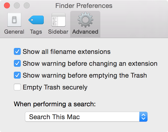 Show all filename extensions