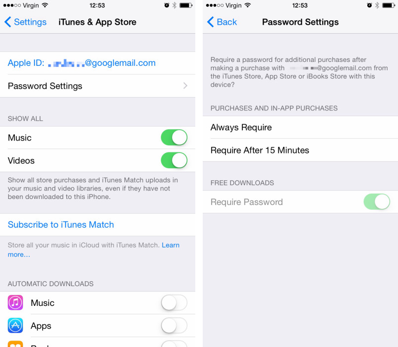 iOS 8.3 Beta iTunes and App Store Password settings