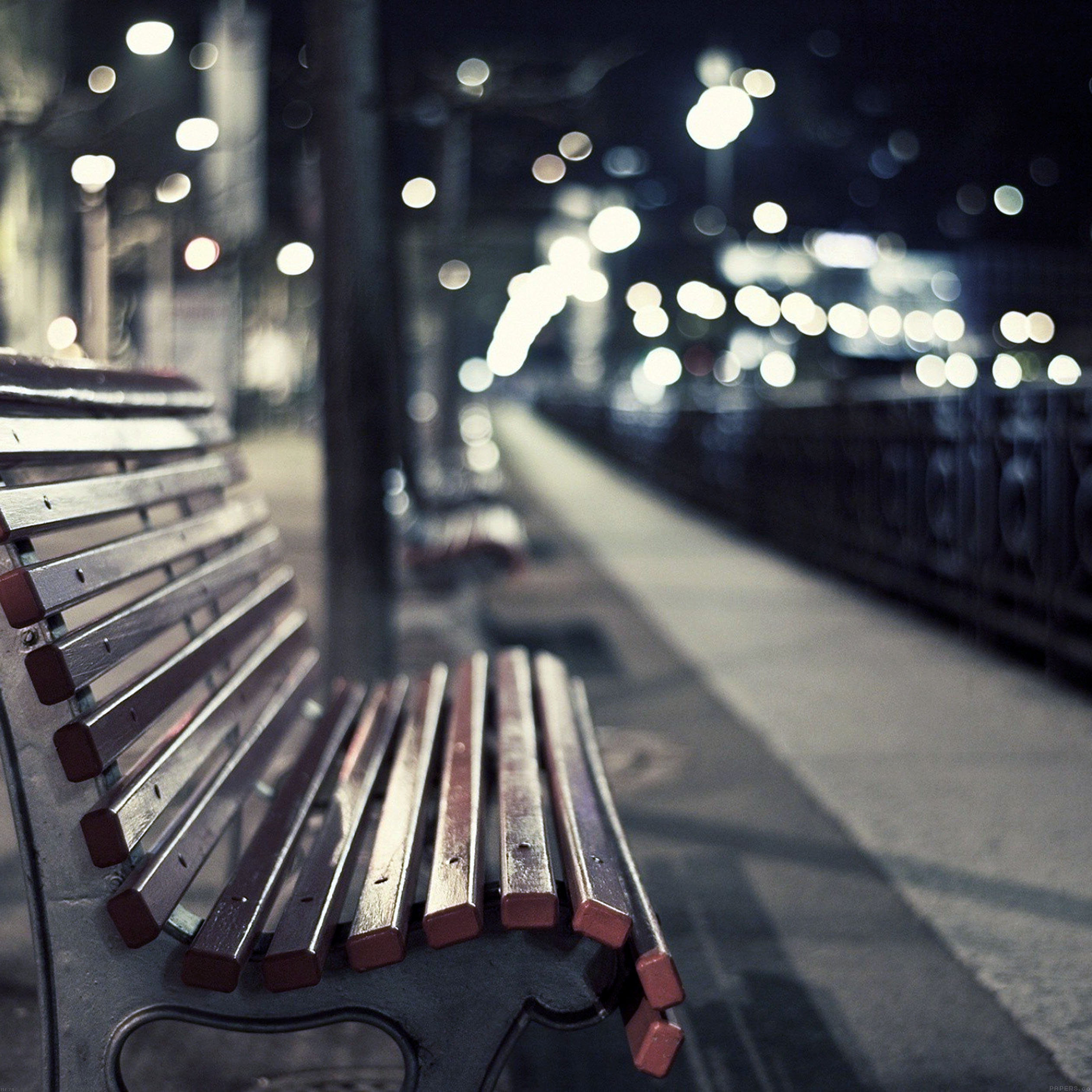 street-chair-melancholy-night-lights-bokeh-city-9-wallpaper