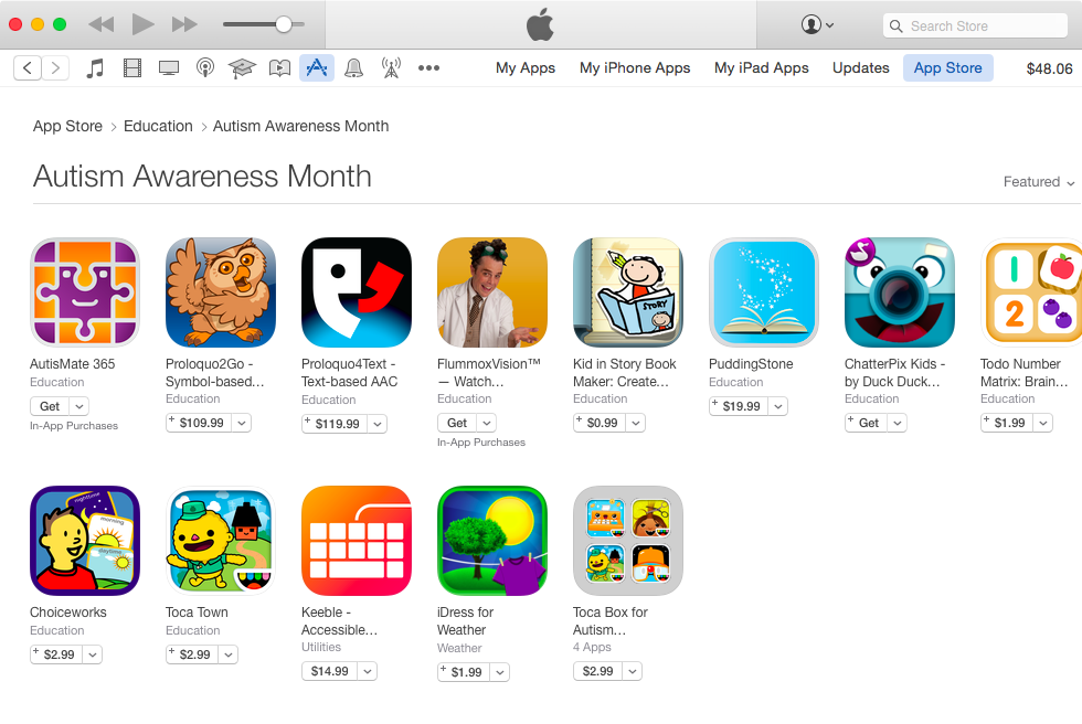 App Store World Autims Day