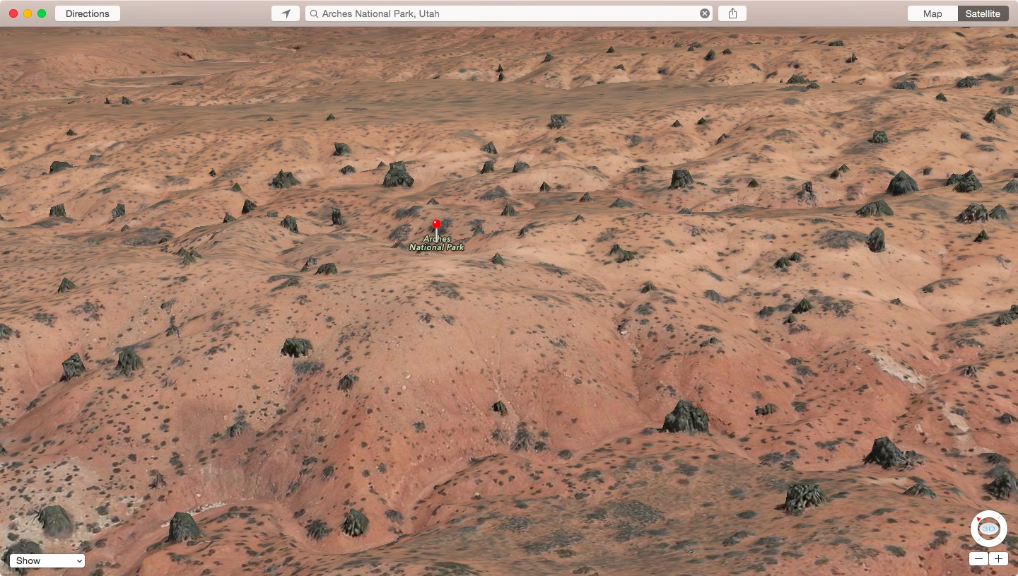 Apple Maps Flyover Arches National Park in Utah