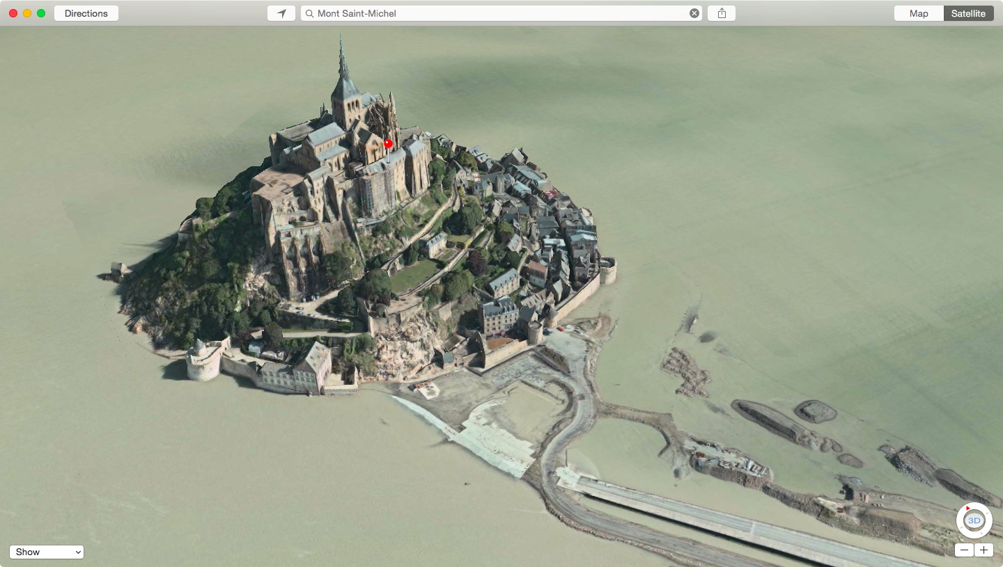 Apple Maps Flyover Mont Saint-Michel in France
