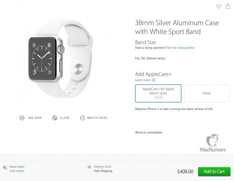 Apple Watch Sport AppleCare Plus MacRumors 001