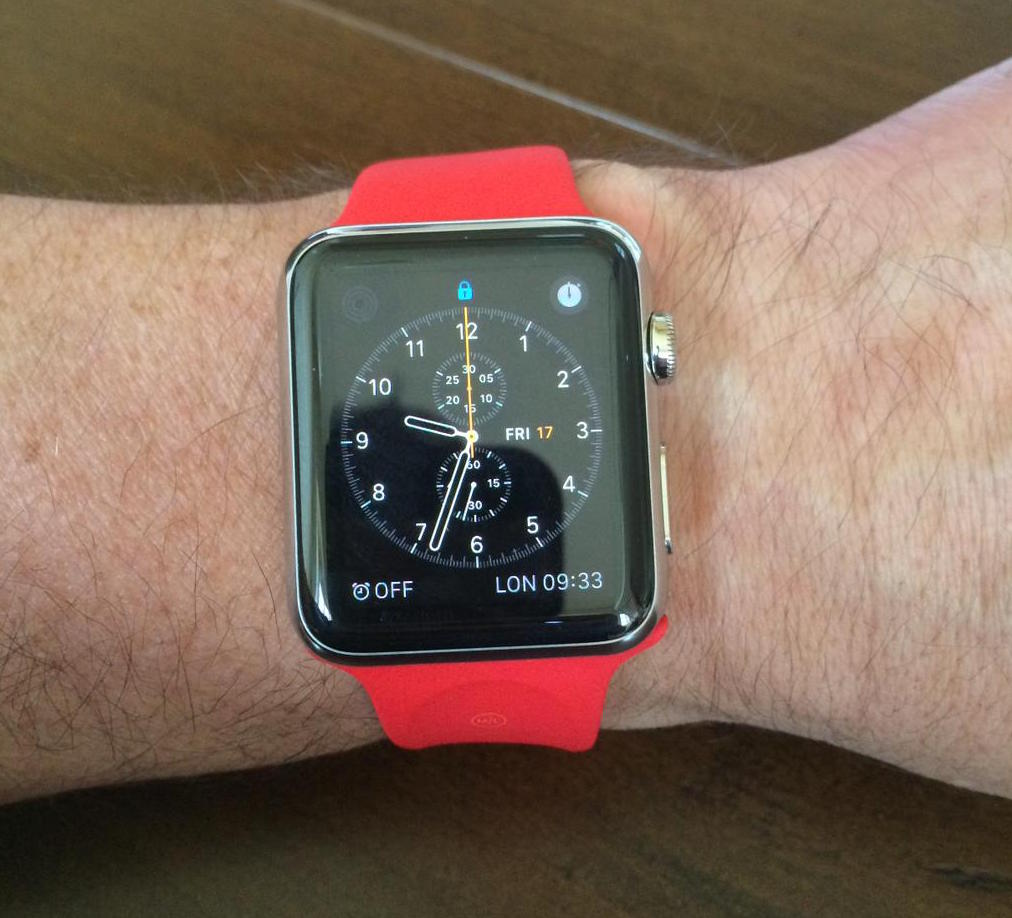 Apple Watch with red Sport band Will Carling 001