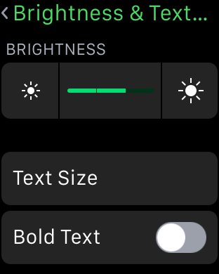 Brightness and Text Size Apple Watch