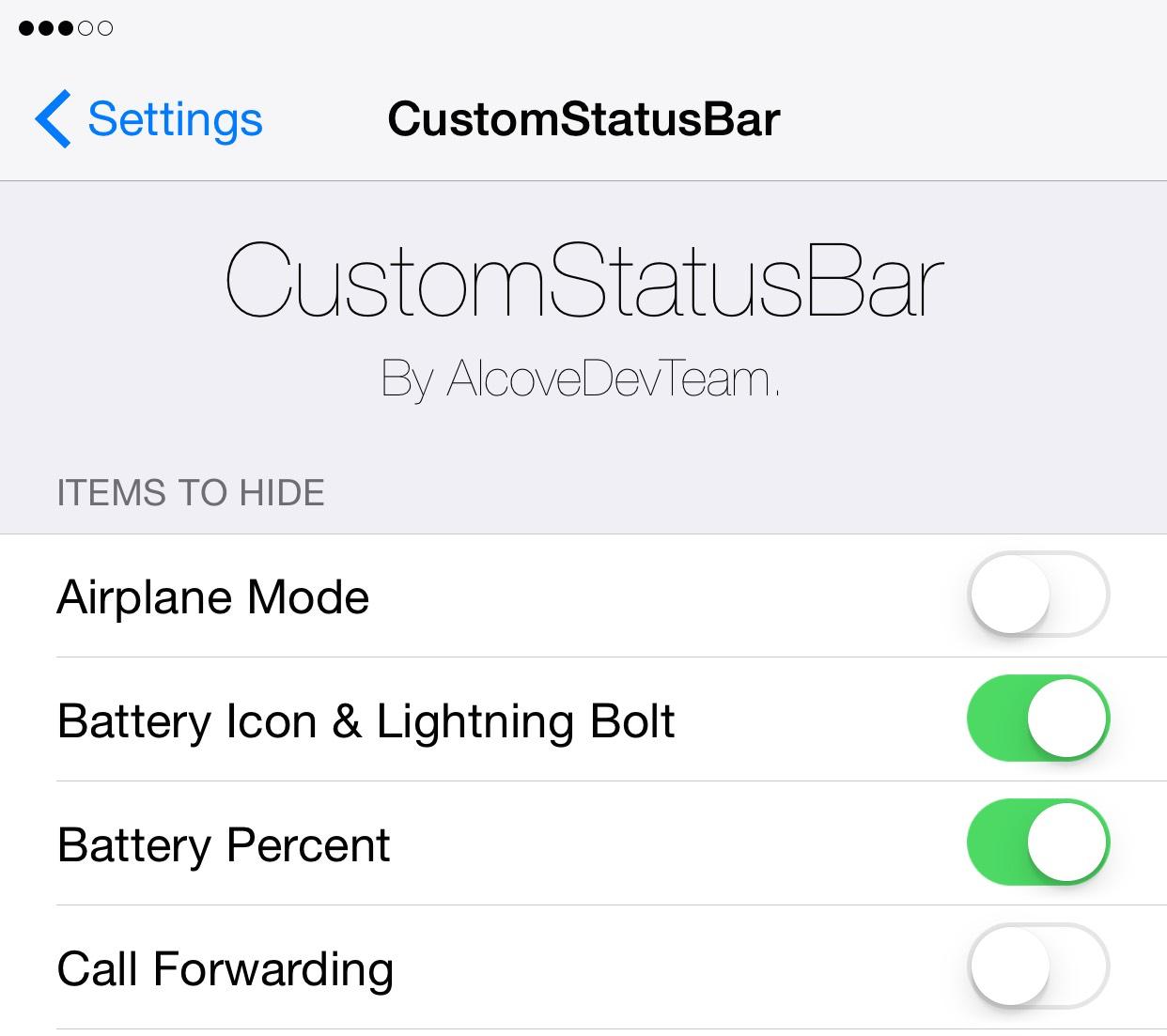 CustomStatusBar Preferences