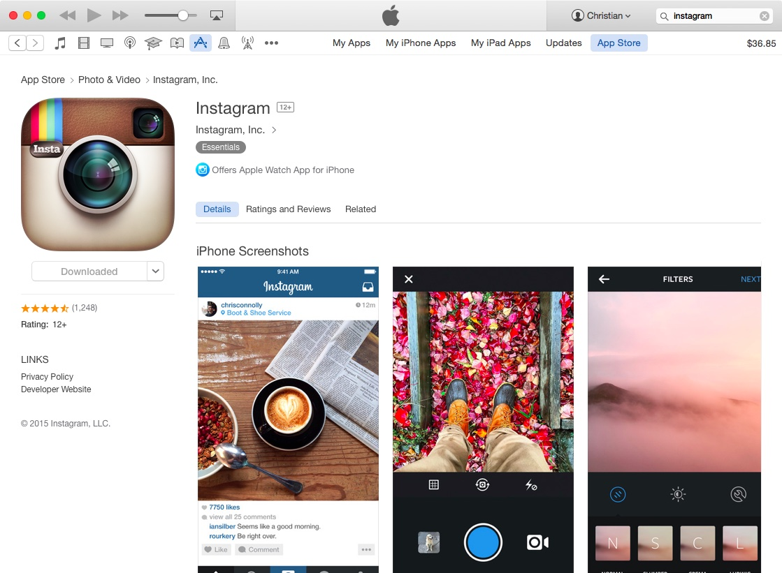 Desktop iTunes Instagram listing 001
