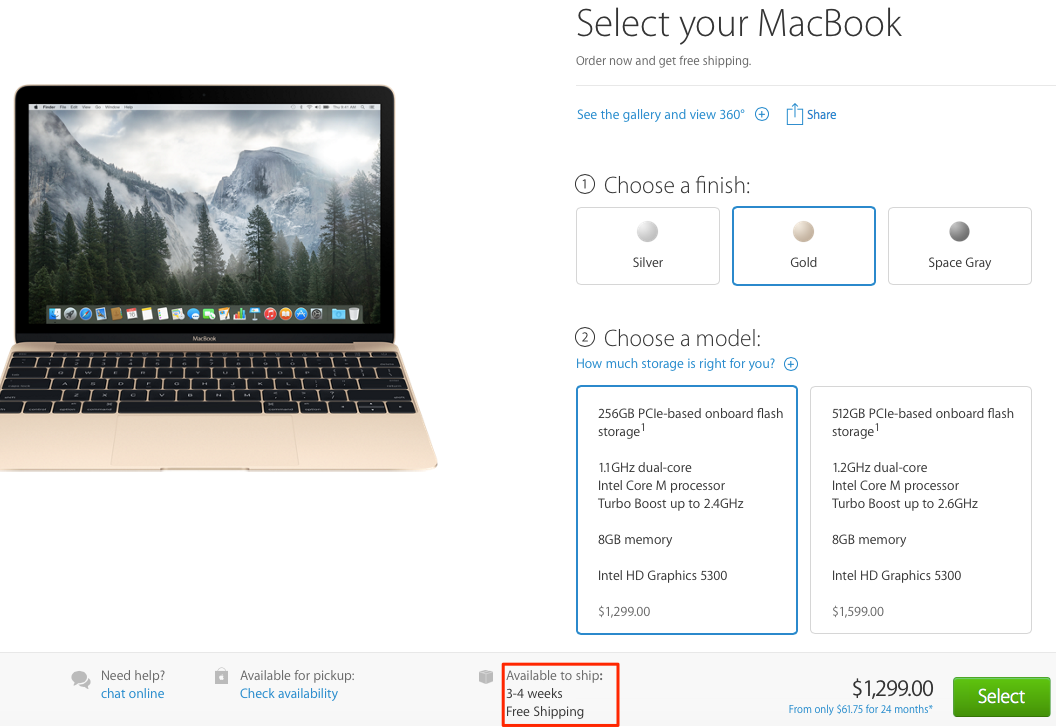 Gold MacBook Apple Store shipping times 3-4 weeks