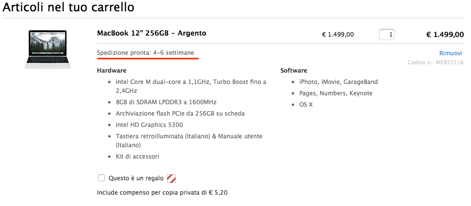 Gold MacBook shipping times 4-6 weeks