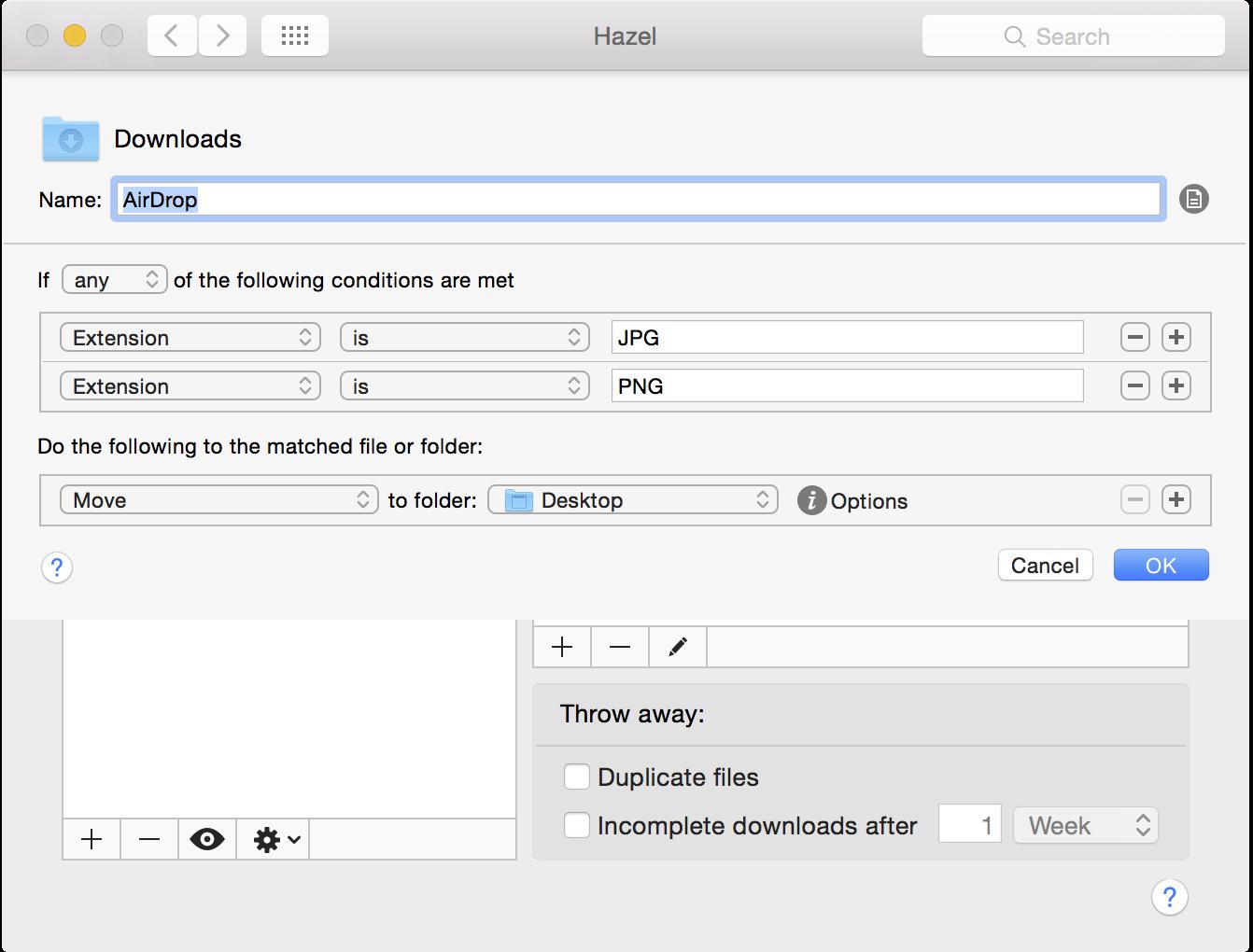Hazel AirDrop to Desktop
