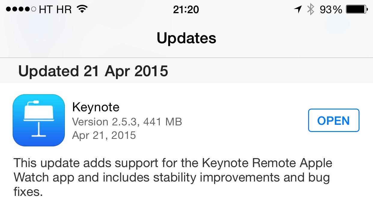 Keynote 2.5.3 para el registro de cambios de iOS
