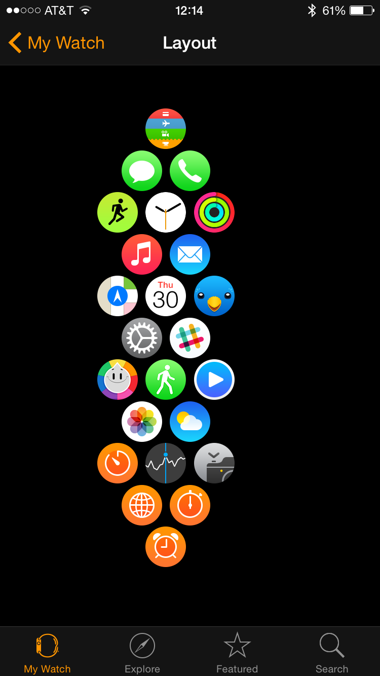 My  watch app layout