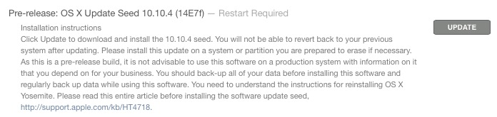 OS X 10.10.4 beta 1 install prompt