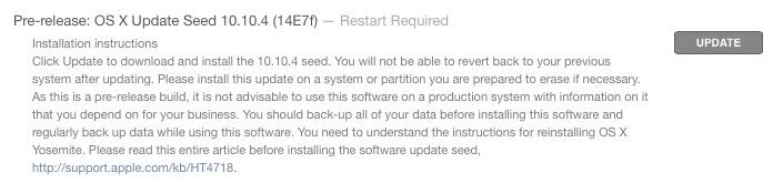 OS X 10.10.4 beta 1 install prompt