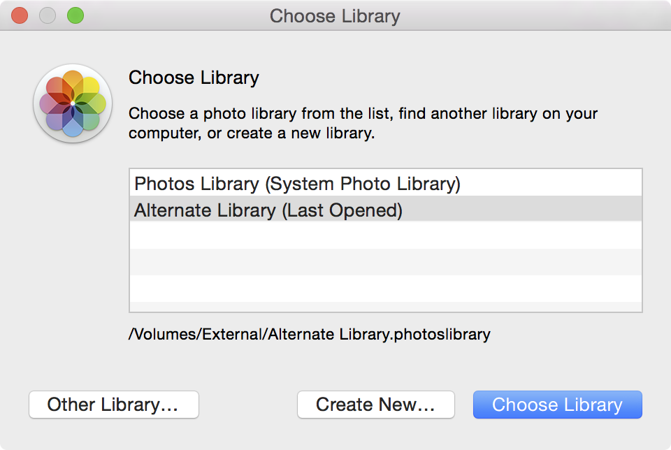 Photos App Choose Library