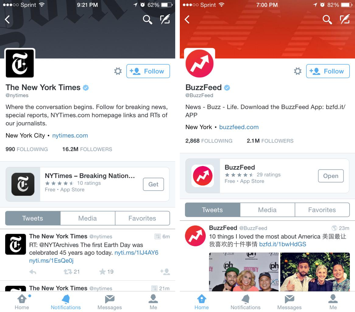 Twitter apps on profile pages