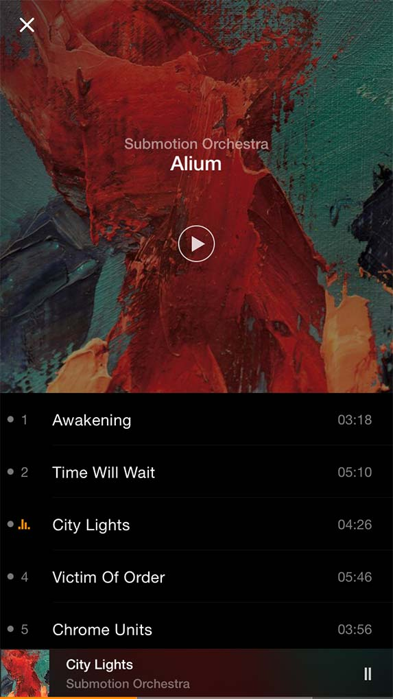 VOX Music Player 1.0 for iOS iPhone screenshot 001