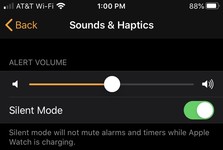 Watch app Silent Mode iPhone
