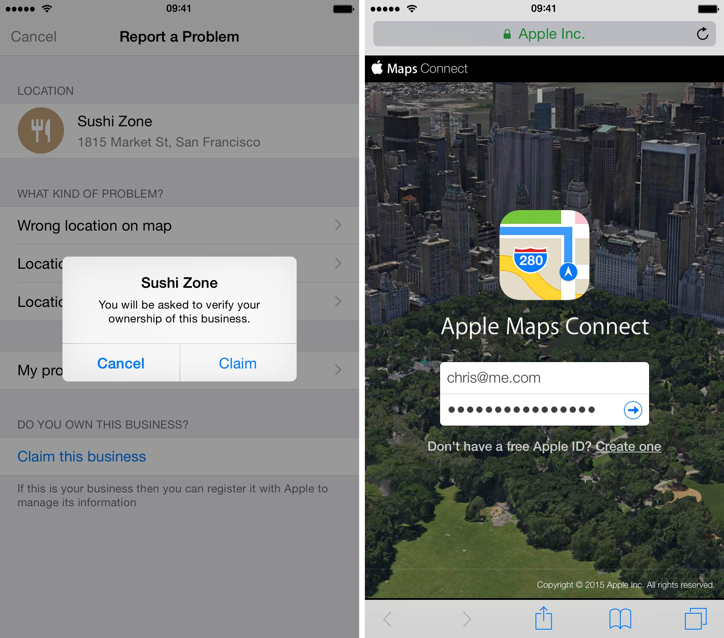 iOS 8.3 Apple Maps Claim POI iPhone screenshot 002