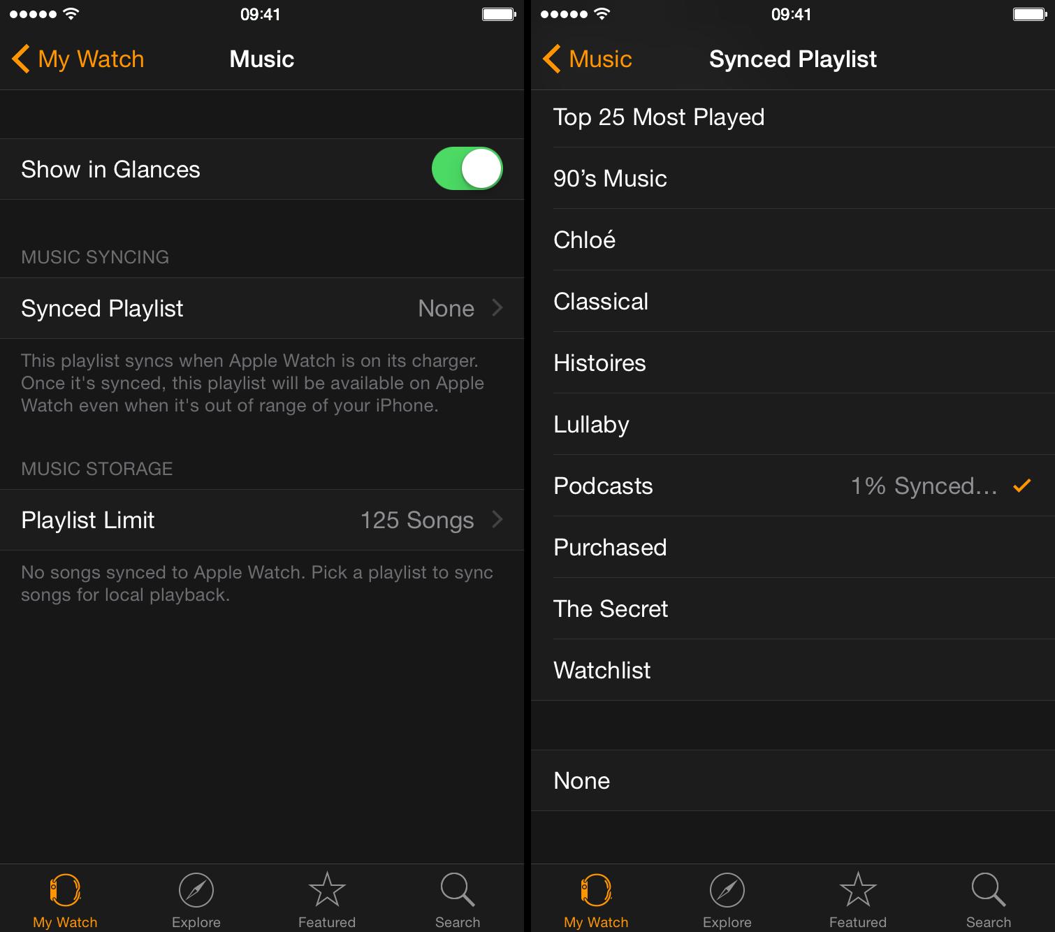 sincronizar reloj de lista de reproducción de podcast