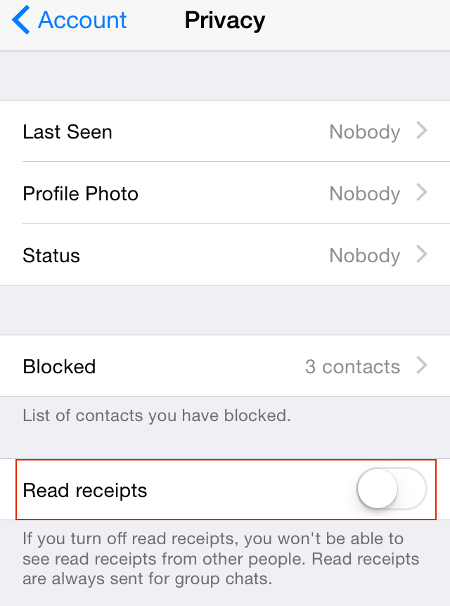 disable read receipts on WhatsApp