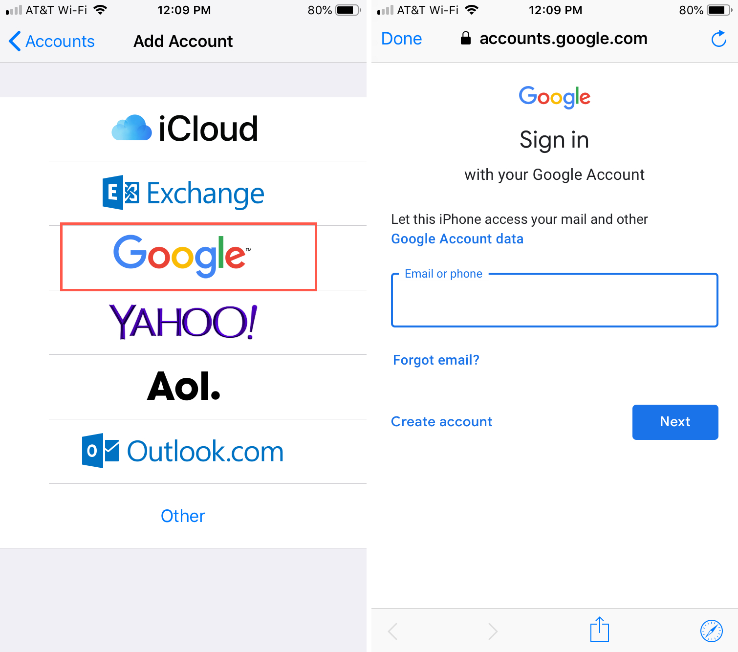 Add Google Account to iPhone Sign In