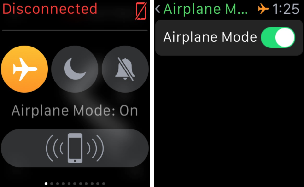 AirPlane Mode Apple Watch 1