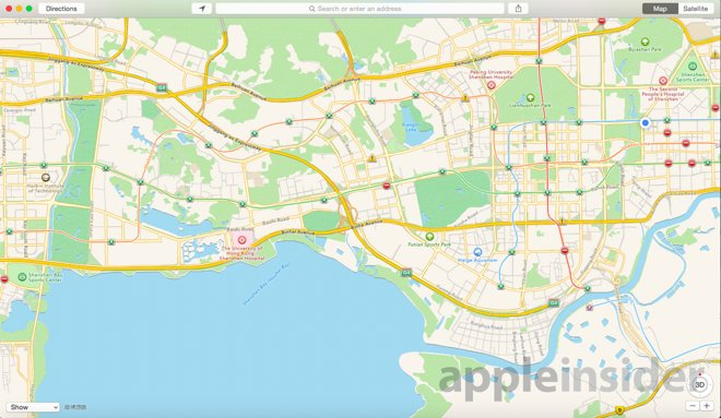 Apple Maps Shenzen within China