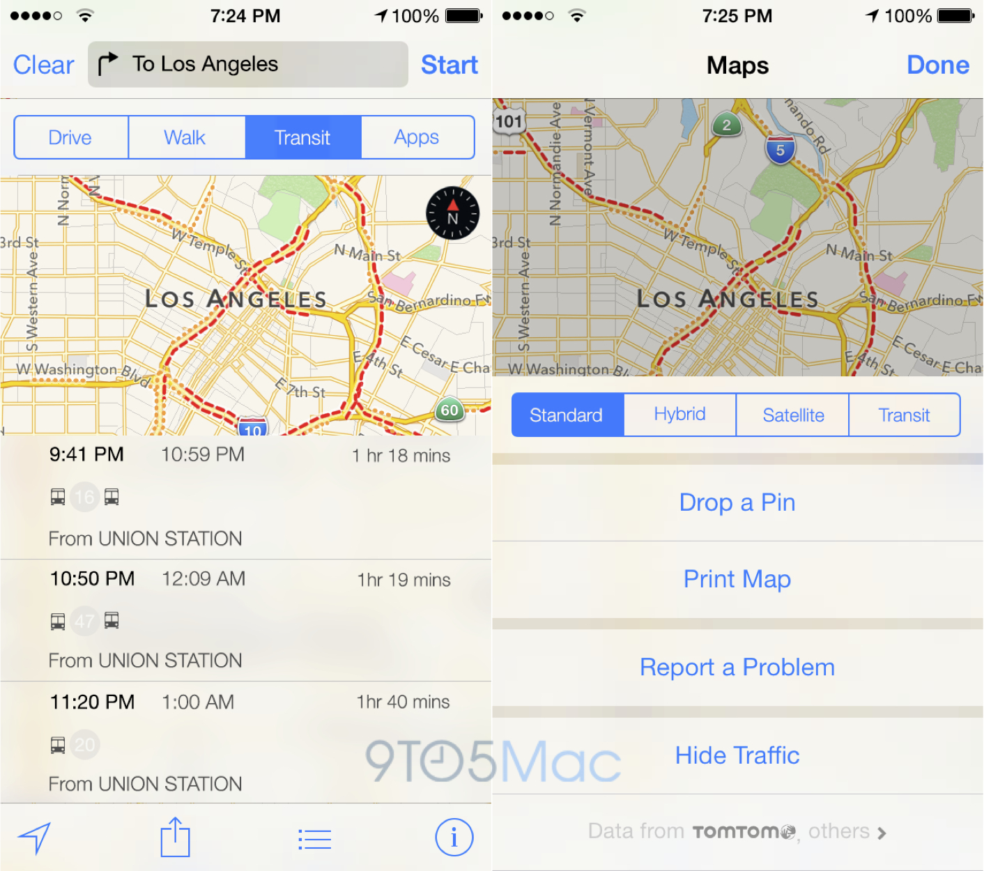 Apple Maps Transit 9to5Mac mockup