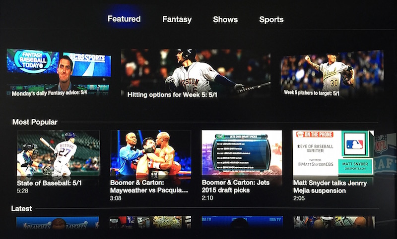 Apple TV CBS Sports