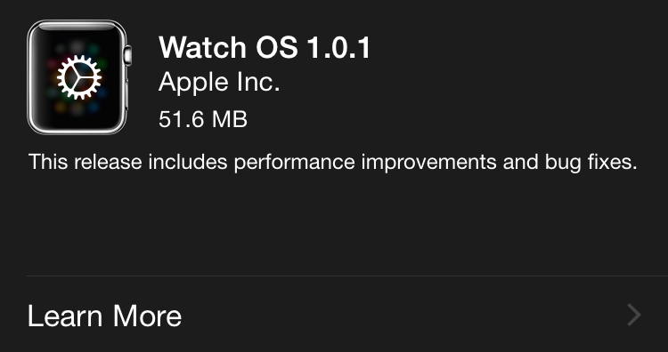 Apple Watch 1.0.1 OS update 003