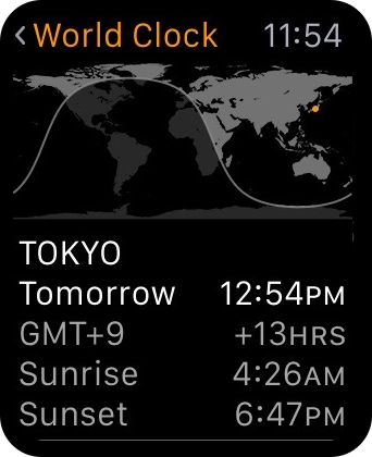 Apple Watch World Clock App