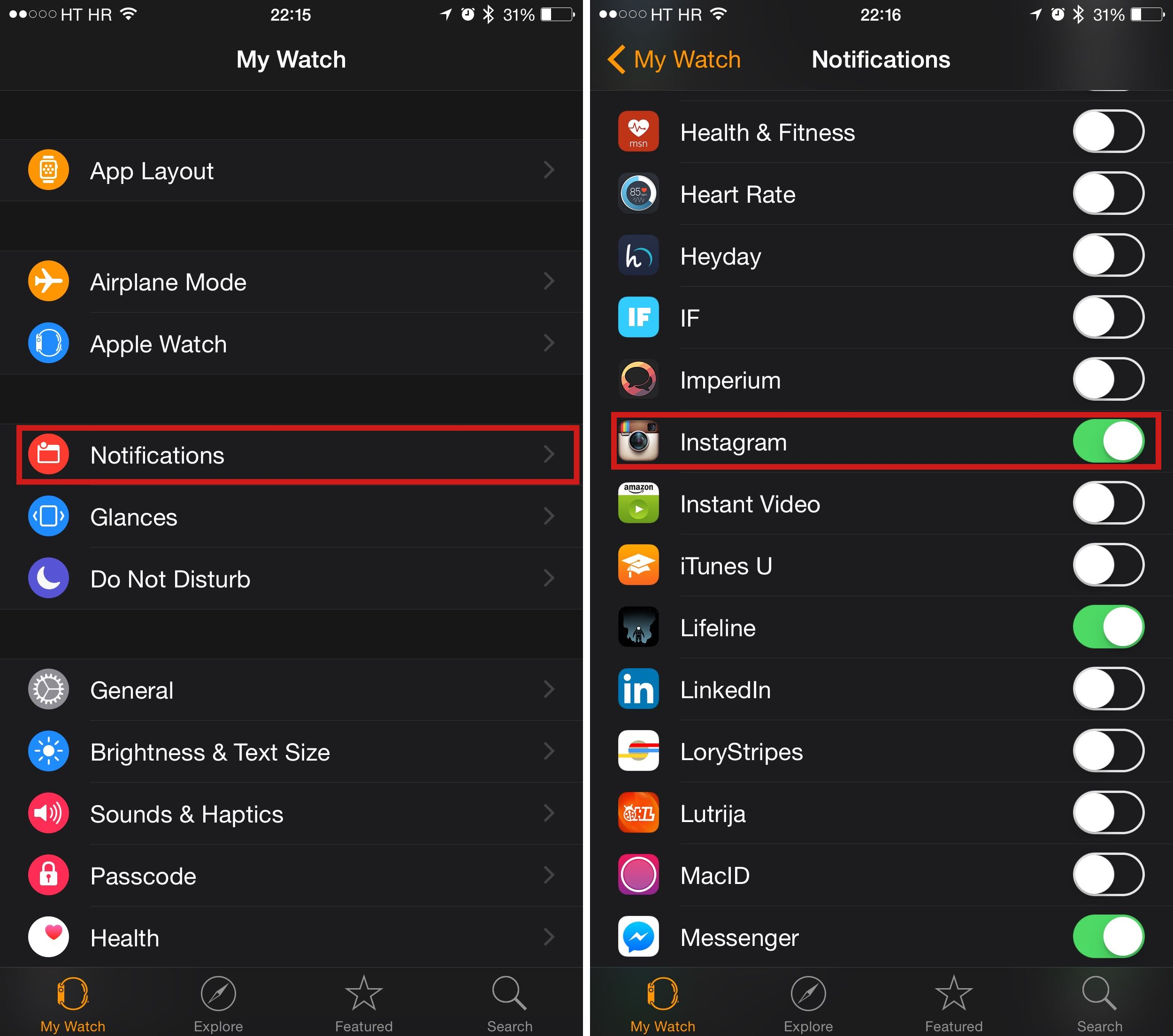 How to get notifications on Apple Watch when specific accounts post