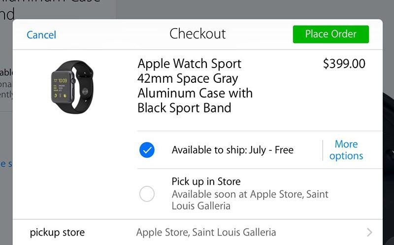 Apple Watch pick up option screenshot