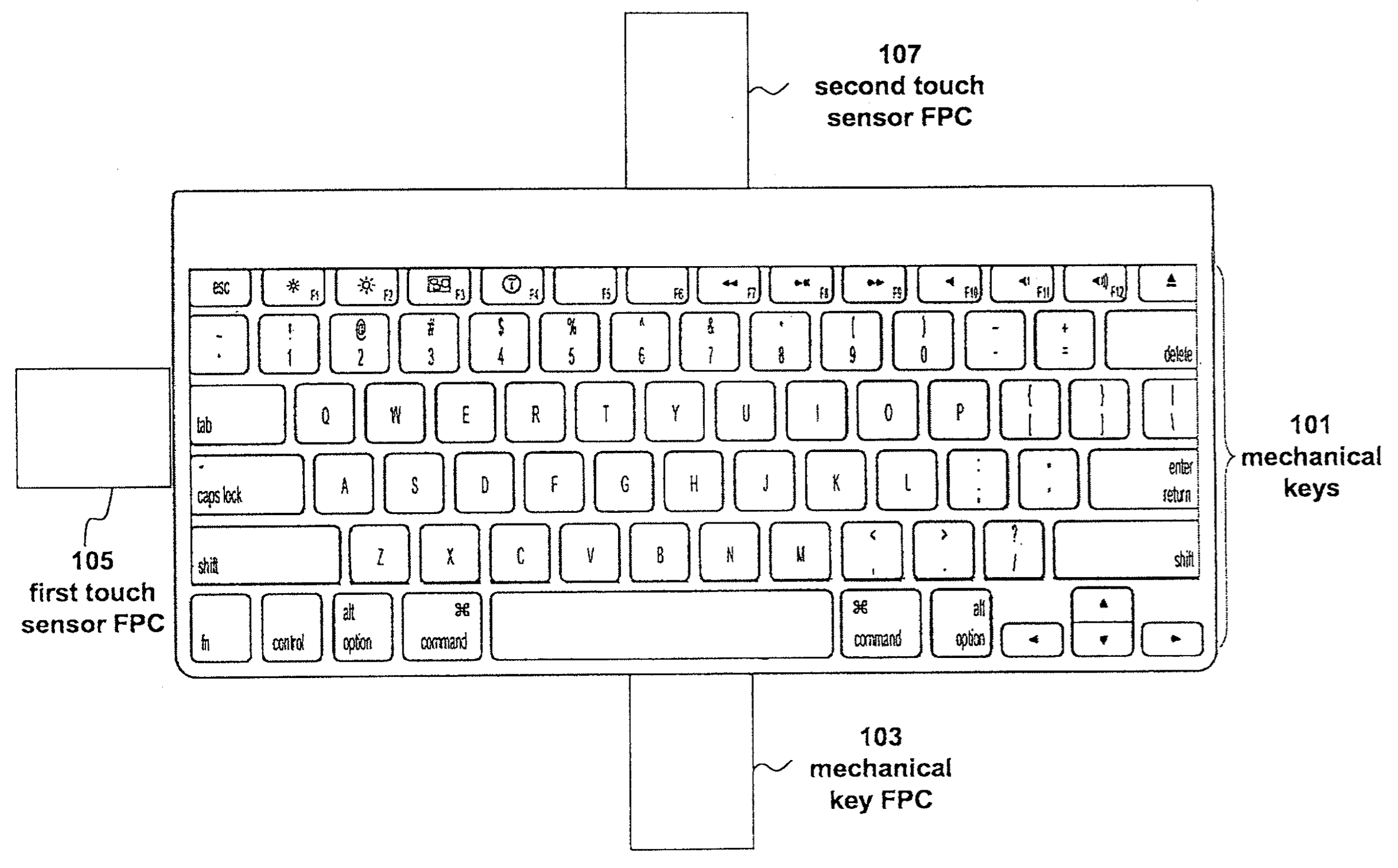 Apple patent Fusion keyboard drawing 003
