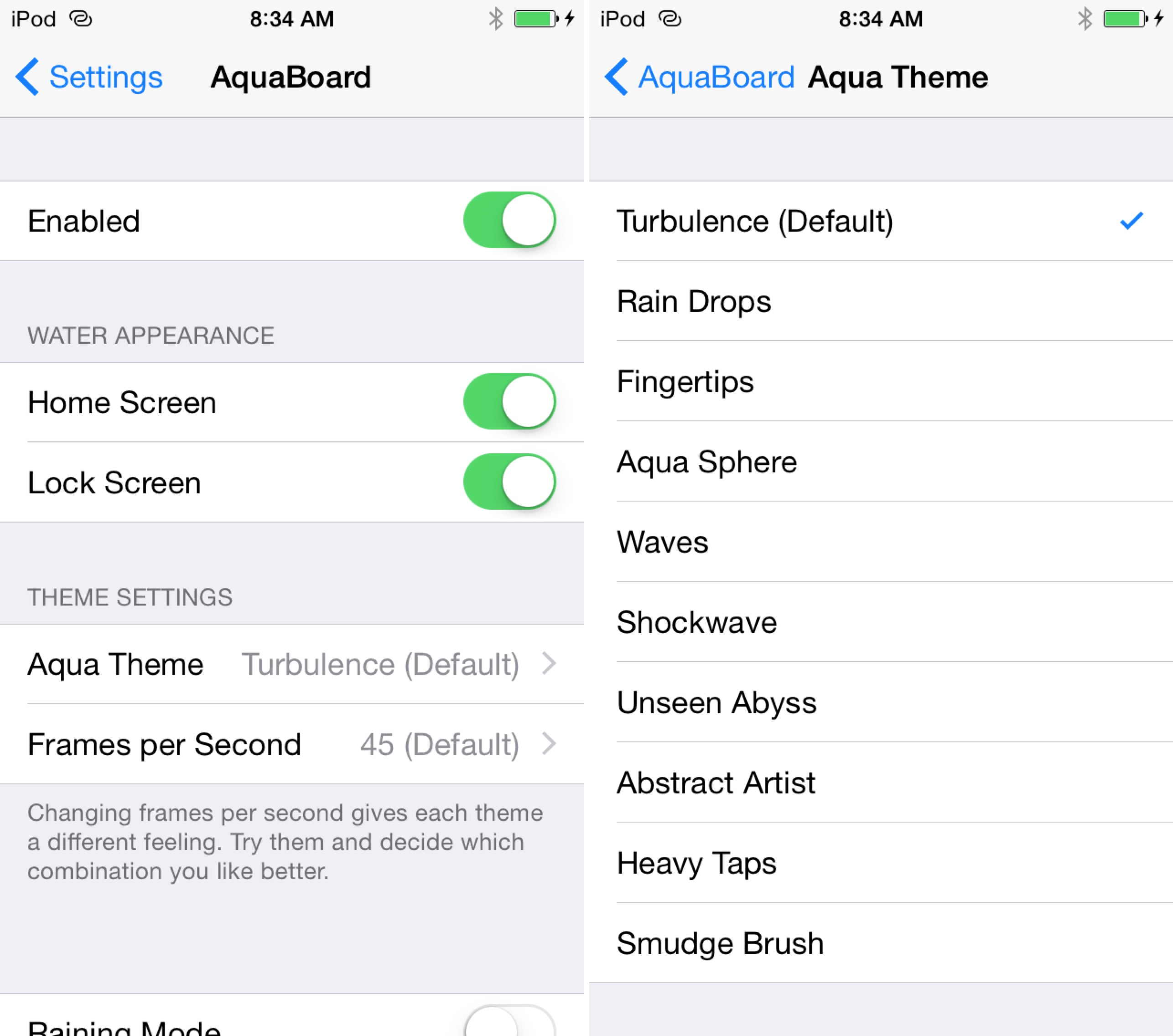AquaBoard iOS 8 Prefs