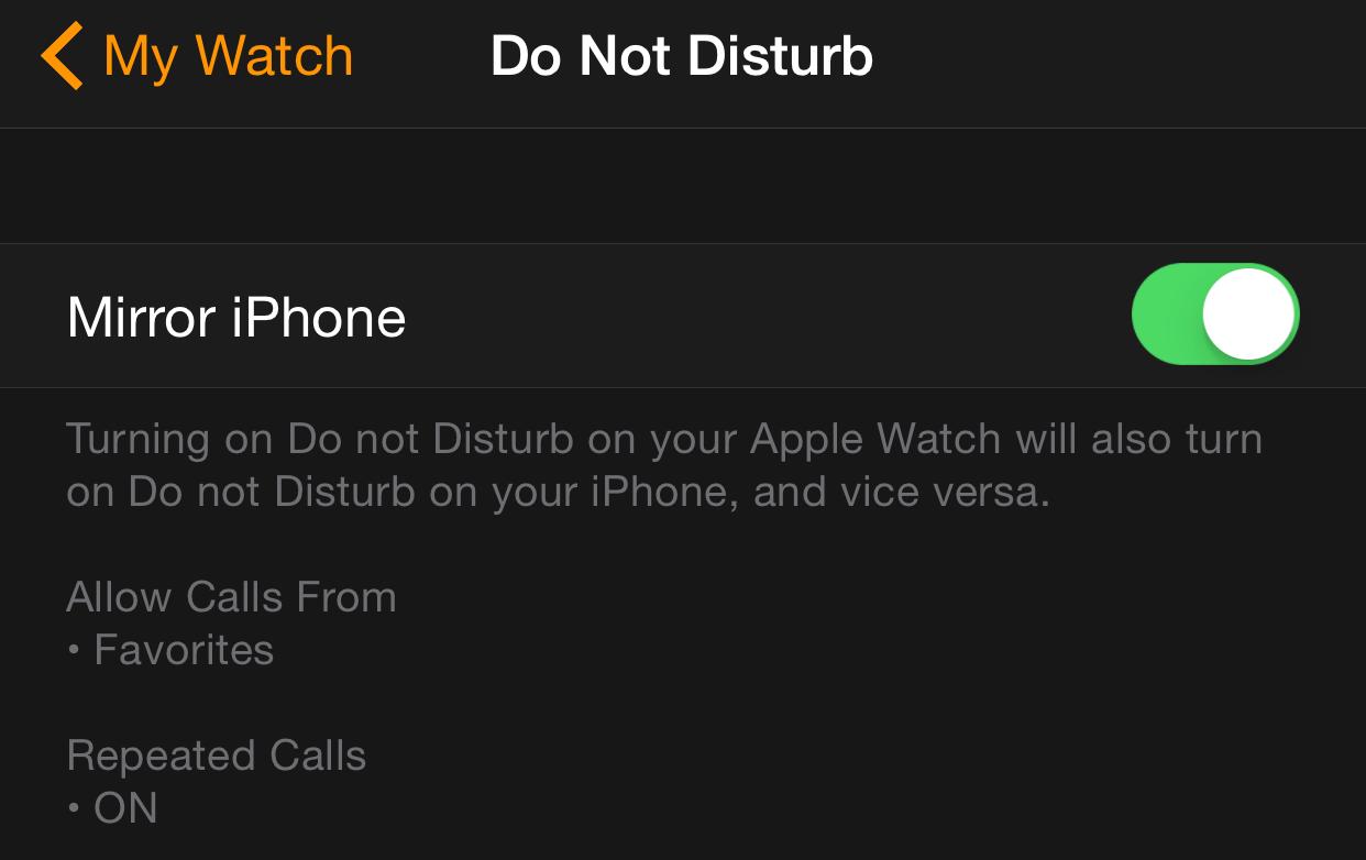 DND Apple Watch iPhone App